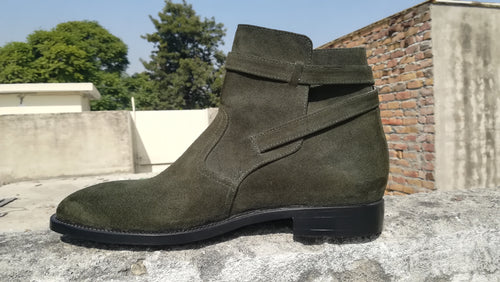 Men's Grey Jodhpurs Suede Ankle Boot,Hand Painted Boot