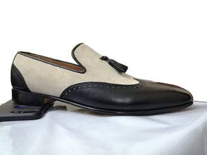 Handmade Beige Black Loafers Leather Suede Tussles Shoes - leathersguru