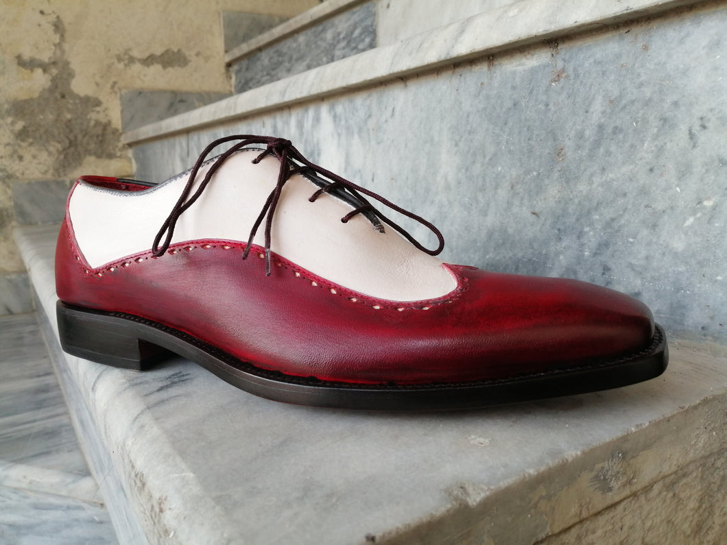 Bespoke Burgundy White Leather Wing Tip Shoe for Men - leathersguru