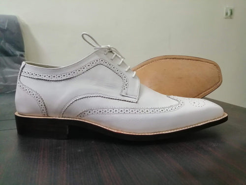 Handmade White Leather Wing Tip Brogue Shoes - leathersguru