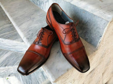 Load image into Gallery viewer, Handmade Two Tone Brown Leather Cap Toe Shoe - leathersguru