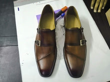 Load image into Gallery viewer, Handmade Brown Color Double Monk Leather Shoe - leathersguru