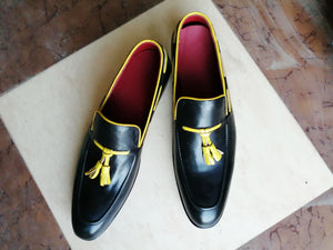 Bespoke Yellow & Black Tussle Loafer Leather Shoe for Men's - leathersguru