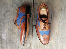 Load image into Gallery viewer, Men's Two Tone Wing Tip Brogue Denim Leather Shoes - leathersguru
