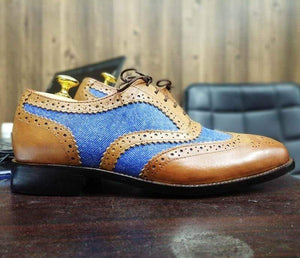 Men's Two Tone Wing Tip Brogue Denim Leather Shoes - leathersguru