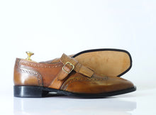Load image into Gallery viewer, Bespoke Tan Leather Fringe Monk Strap Shoes for Men's - leathersguru