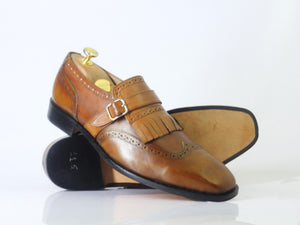 Bespoke Tan Leather Fringe Monk Strap Shoes for Men's - leathersguru