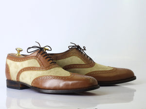 Bespoke Brown Beige Leather Suede Wing Tip Lace Up Shoes - leathersguru