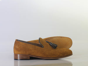 Bespoke Tan Tussle Leather Round Toe Shoes for Men's - leathersguru