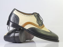 Load image into Gallery viewer, Bespoke Black White Leather Wing Tip Brogue Toe Shoes - leathersguru