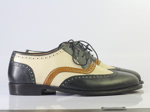 Bespoke Black White Leather Wing Tip Brogue Toe Shoes - leathersguru