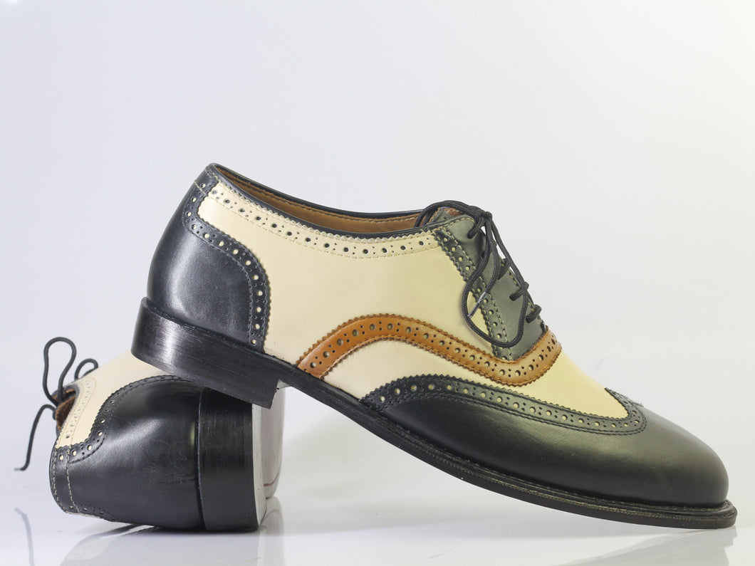 Bespoke Black Beige Leather Tan Cap Toe Lace Up Shoe for Men - leathersguru