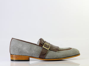 Bespoke Grey Brown Buckle Loafers for Men's - leathersguru