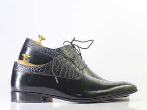 Bespoke Black Alligator Leather Lace Up Shoes for Men's - leathersguru