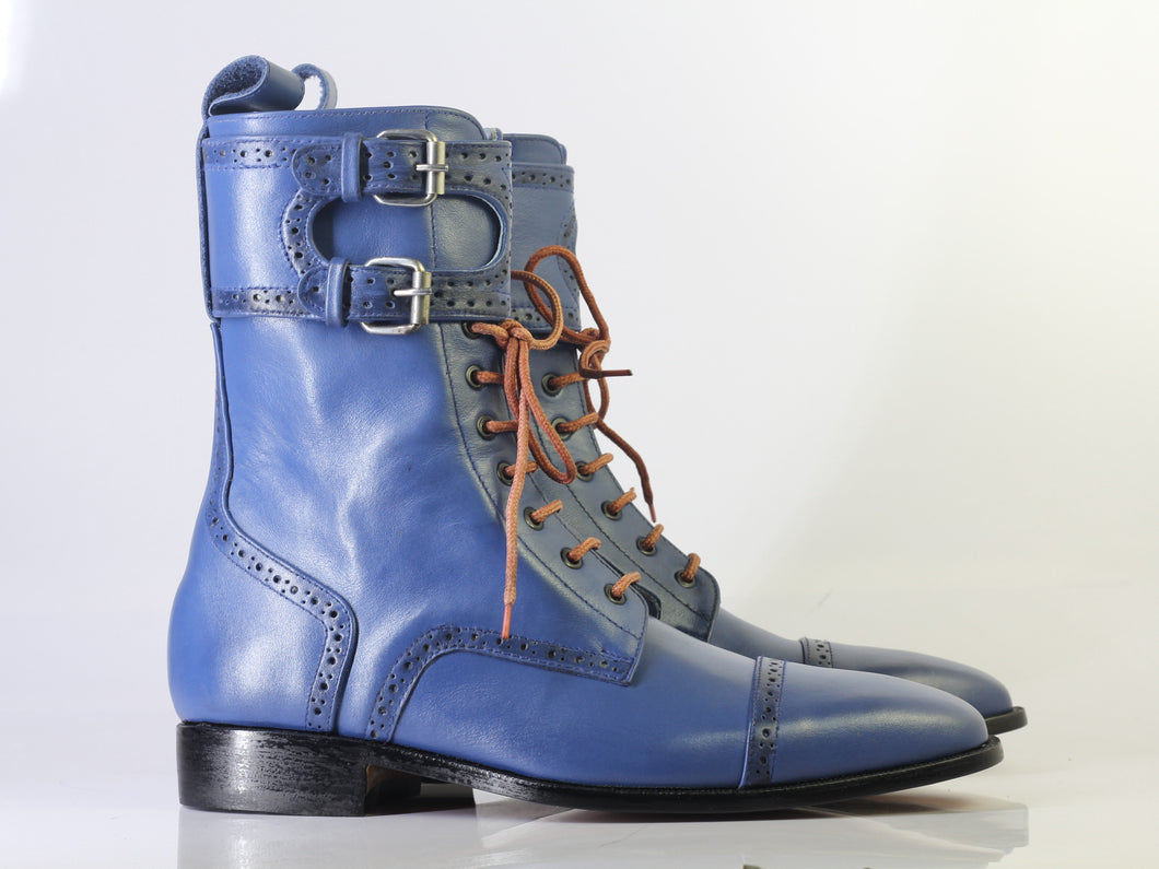 Bespoke Blue Ankle High Cap Toe Buckle Lace Up Boots for Men's - leathersguru