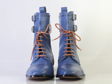 Load image into Gallery viewer, Bespoke Blue Ankle High Cap Toe Buckle Lace Up Boots for Men's - leathersguru