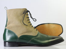 Load image into Gallery viewer, Bespoke Green Beige Leather Suede Ankle Wing Tip Lace Up Boot - leathersguru