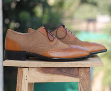Load image into Gallery viewer, Handmade Wing Tip Leather Suede Shoes - leathersguru