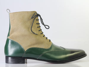 Bespoke Green Beige Leather Suede Ankle Wing Tip Lace Up Boot - leathersguru