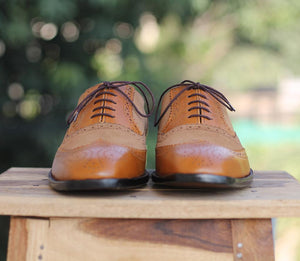 Handmade Wing Tip Leather Suede Shoes - leathersguru