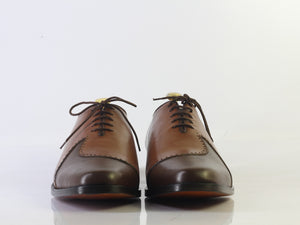 Bespoke Black & Brown Lace Up Shoe For Men - leathersguru