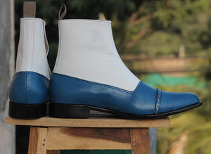 White Blue Button Leather Ankle Boots - leathersguru