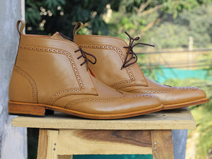 Bespoke Tan Leather  High Ankle Wing Tip Lace Up Boots - leathersguru