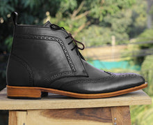 Load image into Gallery viewer, Bespoke Black Chukka Leather Wing Tip Lace Up Boots - leathersguru