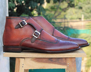 Handmade Brown Two tone Ankle Boots For Men - leathersguru