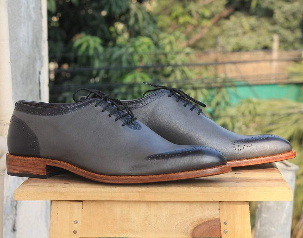 Men's Gray whole Cut Leather Shoe - leathersguru