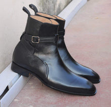 Load image into Gallery viewer, Handmade Black Jodhpurs Ankle Boots For Men's - leathersguru