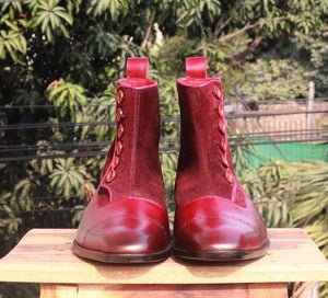 Handmade Burgundy Button Leather Ankle Boot - leathersguru