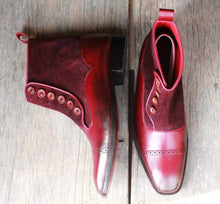 Load image into Gallery viewer, Handmade Burgundy Button Leather Ankle Boot - leathersguru