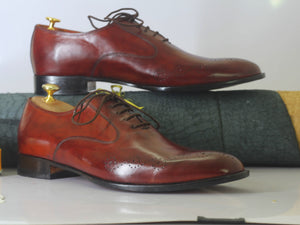 Bespoke Burgundy Brogue Toe Shoe for Men - leathersguru