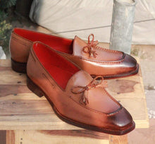 Load image into Gallery viewer, Handmade Brown Tussle Slip on shoe - leathersguru