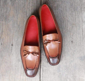 Handmade Brown Tussle Slip on shoe - leathersguru