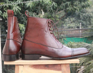 Handmade Tone Brown Leather Ankle Boots - leathersguru