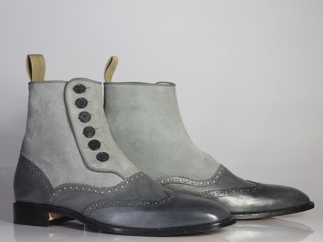 Bespoke Gary Leather Suede Wing Tip Button Top Boots - leathersguru