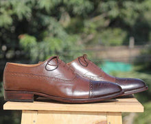 Load image into Gallery viewer, Handmade Brown Two Tone Oxford Leather Shoe - leathersguru