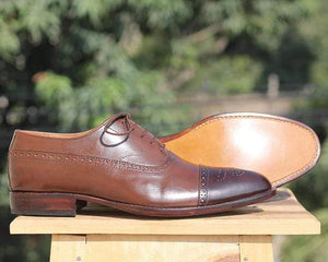 Handmade Brown Two Tone Oxford Leather Shoe - leathersguru