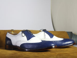 Bespoke White & Blue Wing Tip Brogue Lace Up Shoes - leathersguru