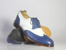 Load image into Gallery viewer, Bespoke White & Blue Wing Tip Brogue Lace Up Shoes - leathersguru