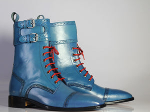 Bespoke Blue Leather Ankle Monk Strap Cap Toe Lace Up Boot - leathersguru