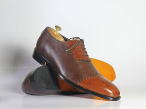 Bespoke Brown & Tan Leather Wing Tip Lace Up Shoe for Men - leathersguru