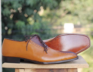 Handmade Tan Brown Stylish Leather Shoes For Men's - leathersguru