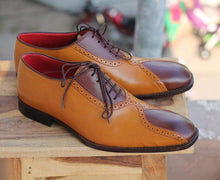 Load image into Gallery viewer, Handmade Tan Brown Stylish Leather Shoes For Men's - leathersguru