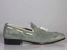 Load image into Gallery viewer, Handmade Gray Loafers Suede Tussles Shoe - leathersguru