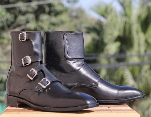Handmade Black Triple Buckle Boots For Men's - leathersguru