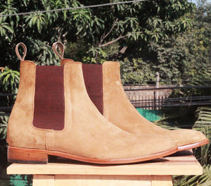 Bespoke Tan Chelsea Leather Boots - leathersguru