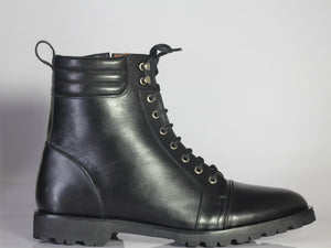 Bespoke Black Leather Side Zip Ankle Cap Toe Lace Up Boot - leathersguru
